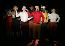 FIESCO   by Schiller   in a new version by Daniel Millar & Mark Leipacher   director: Mark Leipacher ~in Clinton mask: Richard Delaney (Fiesco)~Faction Theatre Company / New Diorama Theatre, London NW...