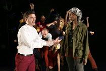 FIESCO   by Schiller   in a new version by Daniel Millar & Mark Leipacher   director: Mark Leipacher ~front left: Richard Delaney (Fiesco)   right: Anna-Maria Nabirye (Hassan)~Faction Theatre Company...