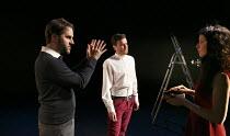 FIESCO   by Schiller   in a new version by Daniel Millar & Mark Leipacher   director: Mark Leipacher ~l-r: Mark Leipacher (director), Richard Delaney (Fiesco), Laura Freeman (Leonora)~Faction Theatre...