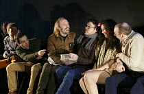 THREE SISTERS   by Chekhov   director: Mark Leipacher ~l-r, from centre: (long hair, brown jacket) Gareth Fordred (Chebutikin), Lachlan McCall (Andrei), Laura Freeman (Natasha), Alexander Guiney (Kuli...