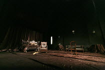 THE JUDAS KISS   by David Hare   design: Dale Ferguson   costumes: Sue Blane   lighting: Rick Fisher   director: Neil Armfield ~stage,set,empty~Hampstead Theatre production 09/2012 / revived at Duke o...