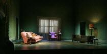 OLD TIMES   by Harold Pinter   design: Hildegard Bechtler   lighting: Peter Mumford   director: Ian Rickson ~stage,set.empty,settee.chair,lamp,window,curtain~Harold Pinter Theatre / London SW1   31/01...