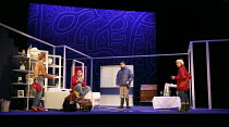 ONE FOR THE ROAD   by Willy Russell   design: Jessica Curtis   lighting: Philip Gladwell   director: Laurie Sansom ~l-r: Nicola Stephenson (Jane), Con O'Neill (Dennis), Matthew Wait (Roger), Michelle...