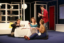 ONE FOR THE ROAD   by Willy Russell   design: Jessica Curtis   lighting: Philip Gladwell   director: Laurie Sansom ~l-r: Matthew Wait (Roger), Michelle Butterly (Pauline), Nicola Stephenson (Jane), Co...