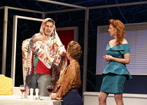 ONE FOR THE ROAD   by Willy Russell   design: Jessica Curtis   lighting: Philip Gladwell   director: Laurie Sansom ~l-r: Con O'Neill (Dennis), Nicola Stephenson (Jane), Michelle Butterly (Pauline)  ~T...