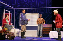 ONE FOR THE ROAD   by Willy Russell   design: Jessica Curtis   lighting: Philip Gladwell   director: Laurie Sansom ~l-r: Con O'Neill (Dennis), Matthew Wait (Roger), Nicola Stephenson (Jane), Michelle...