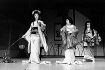 Kabuki HAMLET   after Shakespeare ~l-r: Somegoro Ichikawa (Mikariyahime / Ophelia), Tanosuke Sawamura (Seritonomae / Gertrude), Maisusuke Onde (Shiba / Claudius)~Tokyo Globe production / Mermaid Theat...