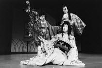 Kabuki HAMLET   after Shakespeare ~front: Somegoro Ichikawa (Mikariyahime / Ophelia)   rear: Tanosuke Sawamura (Seritonomae / Gertrude), Maisusuke Onde (Shiba / Claudius)~Tokyo Globe production / Merm...