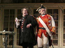 THE BARBER OF SEVILLE   by Rossini   conductor: Jaime Martin   design: Tanya McCallin   lighting: Tom Mannings   director: Jonathan Miller ~l-r: Andrew Shore (Doctor Bartolo), Andrew Kennedy (Count Al...