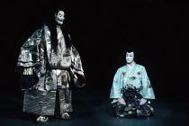 Kabuki HAMLET   after Shakespeare ~l-r: Matsusuke Onoe (Kaneyori / Ghost of Hamlet's Father), Somegoro Ichikawa (Hamura Maru / Hamlet)~Tokyo Globe production / Mermaid Theatre, London EC4   18/09/1991
