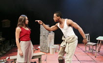 MIES JULIE   adapted & directed by Yael Farber   after Strindberg's 'Miss Julie' ~Hilda Cronje (Mies Julie), Bongile Mantsai (John) ~Baxter Theatre Centre production / Riverside Studios, London W6   1...