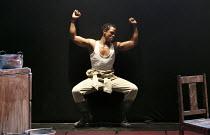 MIES JULIE   adapted & directed by Yael Farber   after Strindberg's 'Miss Julie' ~Bongile Mantsai (John)~Baxter Theatre Centre production / Riverside Studios, London W6   11/03/2013