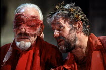 KING LEAR   by Shakespeare   design: Jenny Tiramani   lighting: Jon Linstrum   director: Kenneth Branagh ~l-r: Edward Jewesbury (Earl of Gloucester), Richard Briers (King Lear)~Renaissance Theatre Com...