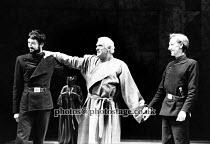 JULIUS CAESAR   by Shakespeare   set design: Farrah   costumes: Ann Curtis   lighting: Andre Tammes   director: Ron Daniels   l-r: Peter McEnery (Marcus Brutus), Joseph O'Conor (Julius Caesar), John...
