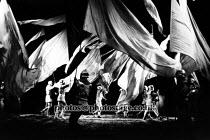JULIUS CAESAR   by Shakespeare   set design: Farrah   costumes: Ann Curtis   lighting: Andre Tammes   director: Ron Daniels   battlefield,banners Royal Shakespeare Company (RSC) / Royal Shakespeare...