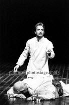 JULIUS CAESAR   by Shakespeare   director: Terry Hands   set design: Farrah   Act III: Linus Roache (Mark Antony)  Royal Shakespeare Company (RSC) / Barbican Theatre, London EC2   14/06/1988   LO-RE...