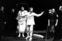 JULIUS CAESAR   by Shakespeare   director: Terry Hands   set design: Farrah   Act III: Linus Roache (Mark Antony) with Caesar's body Royal Shakespeare Company (RSC) / Barbican Theatre, London EC2...