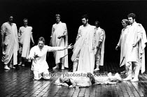 JULIUS CAESAR   by Shakespeare   director: Terry Hands   set design: Farrah   Act III - kneeling left: Linus Roache (Mark Antony)   right: Roger Allam (Marcus Brutus)  Royal Shakespeare Company (RSC...
