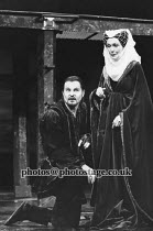 RICHARD III   by Shakespeare   design: Carl Toms   lighting: Mick Hughes   director: Clifford Williams ~Derek Jacobi (Richard III), Rachel Gurney (Duchess of York)~Phoenix Theatre, London WC2   24/01/...