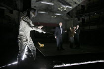 HAMLET   by Shakespeare   design: Jon Bausor   lighting: Jon Clark   director: David Farr   I/iv - l-r: Greg Hicks (Ghost of Old Hamlet), Samuel Taylor (Marcellus), Alex Waldman (Horatio), Jonathan S...