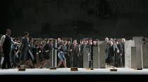 NABUCCO   by Verdi   conductor: Nicola Luisotti   design: Alison Chitty   lighting: Alessandro Carletti   director: Daniele Abbado   chorus, rushing in fear The Royal Opera (RO) / Covent Garden   Lo...