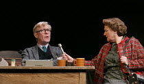 UNTOLD STORIES - COCKTAIL STICKS   by Alan Bennett   design: Bob Crowley   lighting: Tom Snell   director: Nichols Hytner   Alex Jennings (Alan Bennett), Sue Wallace (Interviewer) a National Theatr...