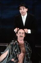 THE WINTER'S TALE   by Shakespeare   design: Ariane Gastambide   lighting: Ben Ormerod   director: Annabel Arden ~top: Simon McBurney (Clown)   below: Marcello Magni (Autolycus)~Theatre de Complicite...