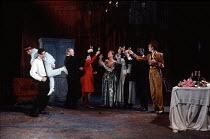 THE WINTER'S TALE   by Shakespeare   design: Ariane Gastambide   lighting: Ben Ormerod   director: Annabel Arden ~from left: Simon McBurney (Leontes), Kathryn Hunter (Maximillius), Mark Lewis Jones (A...