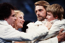 THE WINTER'S TALE   by Shakespeare   design: Gerard Howland   lighting: Terry Hands & Clive Morris   director: Terry Hands ~l-r: Paul Greenwood (Polixenes), Penny Downie (Hermione), Jeremy Irons (Leon...