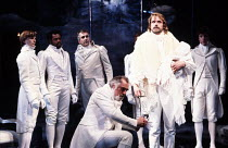 THE WINTER'S TALE   by Shakespeare   design: Gerard Howland   lighting: Terry Hands & Clive Morris   director: Terry Hands ~centre: (kneeling) Raymond Bowers (Antigonus), Jeremy Irons (Leontes)~Royal...
