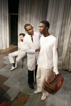THE HOSPITAL AT THE TIME OF THE REVOLUTION   by Caryl Churchill   design: Rachel Stone   lighting: Derek Anderson   director: Jim Russell ~l-r: Tim Pritchett (Patient C), Miles Mitchell (Fanon), Benja...