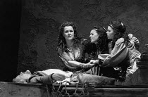 ANTONY AND CLEOPATRA   by Shakespeare   set design: Alison Chitty   lighting: Stephen Wentworth   director: Peter Hall   l-r: Judi Dench (Cleopatra), Miranda Foster (Charmian), Helen Fitzgerald (Ira...