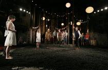 AS YOU LIKE IT   by Shakespeare   design: Naomi Dawson   lighting: James Farncombe   director: Maria Aberg   final scene - front left: Pippa Nixon (Rosalind)   rear - l-r: Joanna Horton (Celia), (wit...