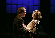 THESE SHINING LIVES   by Melanie Marnich   design: Tim Shortall   lighting: Rob Casey   director: Loveday Ingram   Alec Newman (Tom), Charity Wakefield (Catherine) Park Theatre, Finsbury Park, Londo...