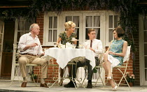 RELATIVELY SPEAKING   by Alan Ayckbourn   design: Peter McKintosh   director: Lindsay Posner ~l-r: Jonathan Coy (Philip), Felicity Kendal (Sheila), Max Bennett (Greg), Kara Tointon (Ginny)~Theatre Roy...