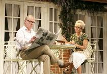 RELATIVELY SPEAKING   by Alan Ayckbourn   design: Peter McKintosh   director: Lindsay Posner ~Jonathan Coy (Philip), Felicity Kendal (Sheila) ~Theatre Royal Bath production / Wyndham's Theatre, London...