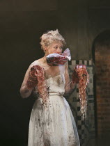 TITUS ANDRONICUS   by Shakespeare   design: Colin Richmond   lighting: Chris Davey   director: Michael Fentiman ~III/i: Rose Reynolds (Lavinia)~Royal Shakespeare Company (RSC) / Swan Theatre, Stratfor...