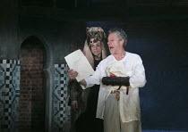 TITUS ANDRONICUS   by Shakespeare   design: Colin Richmond   lighting: Chris Davey   director: Michael Fentiman ~V/ii - l-r: Perry Millward (Demetrius), Stephen Boxer (Titus Andronicus)~Royal Shakespe...