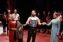 CORIOLANUS   by Shakespeare   design: Bunny Christie   lighting: Ben Ormerod   director: Tim Supple ~l-r: Judi Dench (Volumnia), Kenneth Branagh (Caius Martius / Coriolanus), Susannah Harker (Virgilia...