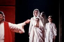 CORIOLANUS   by Shakespeare   design: Bunny Christie   lighting: Ben Ormerod   director: Tim Supple ~front centre: Judi Dench (Volumnia)   rear: Susannah Harker (Virgilia)~Chichester Festival Theatre...