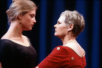 CORIOLANUS   by Shakespeare   design: Bunny Christie   lighting: Ben Ormerod   director: Tim Supple ~l-r:  Susannah Harker (Virgilia), Judi Dench (Volumnia)~Chichester Festival Theatre (CFT) / Chiches...