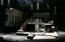 THE AMEN CORNER   by James Baldwin   set design: Ian MacNeil   costumes: Joan Wadge   lighting: Paul Anderson   director: Rufus Norris   stage,set,empty,split level,platform,bed,kitchen Olivier Thea...