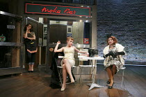 A MAD WORLD MY MASTERS   by Thomas Middleton   design: Alice Power   lighting: James Farncombe   director: Sean Foley ~I/i - l-r: Badria Timimi (Waitress/Prostitute), Sarah Ridgeway (Truly Kidman), Is...