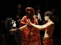 MACBETH - THE PROLOGUE   after Shakespeare   director: Vladislav Troitsky ~l-r: Natalka Bida (Lady Macbeth), Tetyana Vasylenko (Bird), Dmytro Yaroshenko (Macbeth)~Dakh Centre for Contemporary Arts - U...