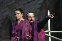 MACBETH   by Shakespeare   design: Bruno Santini   lighting: Ben Ormerod   director: James Roose-Evans   Macbeth sees Banquo's ghost: Cathy Owen (Lady Macbeth), Peter Lindford (Macbeth) Ludlow Cast...