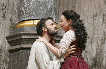 MACBETH   by Shakespeare   design: Mike Britton   director: Eve Best ~Joseph Millson (Macbeth), Samantha Spiro (Lady Macbeth) ~Shakespeare's Globe (SG), London SE1   04/07/2013