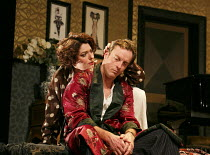 PRIVATE LIVES   by Noel Coward   design: Anthony Ward   lighting: Mark Henderson   director: Jonathan Kent ~Anna Chancellor (Amanda Prynne), Toby Stephens (Elyot Chase) ~Chichester Festival Theatre 20...