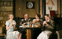 PRIVATE LIVES   by Noel Coward   design: Anthony Ward   lighting: Mark Henderson   director: Jonathan Kent ~l-r: Anna-Louise Plowman (Sibyl Chase), Toby Stephens (Elyot Chase), Anna Chancellor (Amanda...