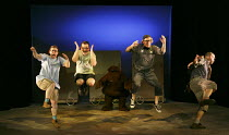 WE'RE GOING ON A BEAR HUNT   based on the book written by Michael Rosen & illustrated by Helen Oxenbury   design: Katie Sykes   lighting: Tony Simpson   director: Sally Cookson ~l-r: Rowena Lennon (Da...