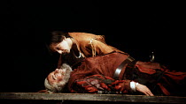 HENRY IV part i   by Shakespeare   set design: Bob Crowley   costumes: Deirdre Clancy   lighting: Alan Burrett   director: Adrian Noble ~Eastcheap: Michael Maloney (Henry, Prince of Wales / Hal), Robe...